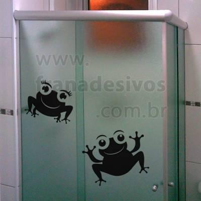 Adesivo para Box de Banheiro Casal de Sapinhos