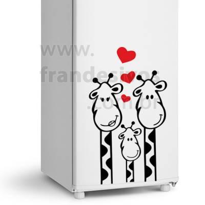 Adesivo de Geladeira Familia Girafa / Girafinhas