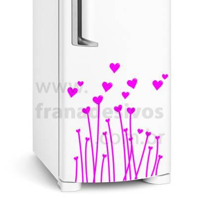 Adesivo de Geladeira flores com corações