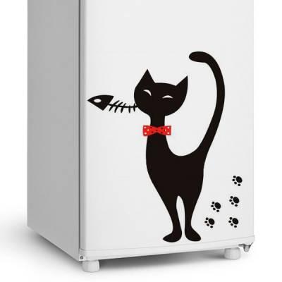 Adesivo de Geladeira Gato / Gatinho com Gravata
