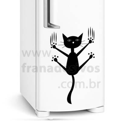 Adesivo de Geladeira Gato / Gatinho Pendurado