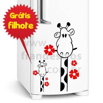 Adesivo de Geladeira Girafa com flor