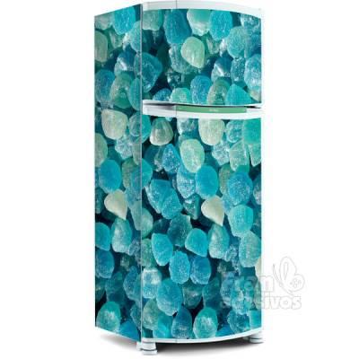 Adesivo para envelopamento de geladeira - Balas azuis