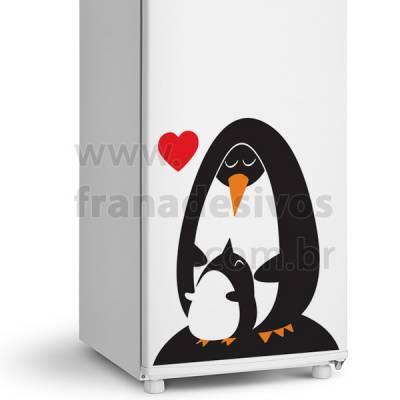 Adesivo de Geladeira Pinguim com filhote amor de mãe