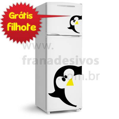 Adesivo de Geladeira Pinguim de Lado