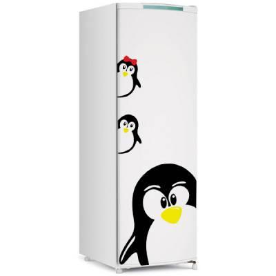 Adesivo de Geladeira Pinguim com dois filhotes