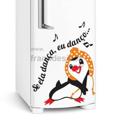 Adesivo de Geladeira Pinguim se ela dança eu danço