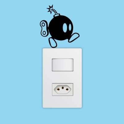 Adesivo de Parede para Interruptor Bomba do Super Mario