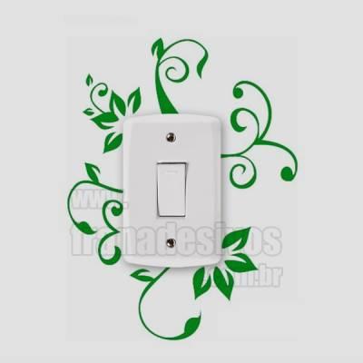 Adesivo de parede - Interruptor - Floral Elegância