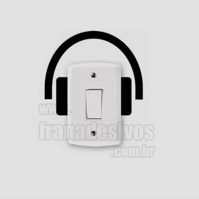 Adesivo de parede - Interruptor - Fone de Ouvido