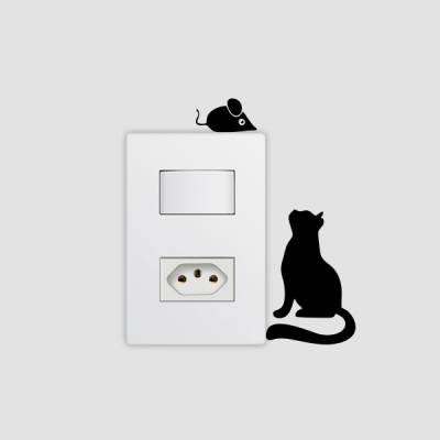 Adesivo de Parede para Interruptor Gatinho e Ratinho