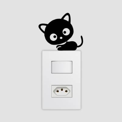 Adesivo de Parede para Interruptor Gatinho Assustado