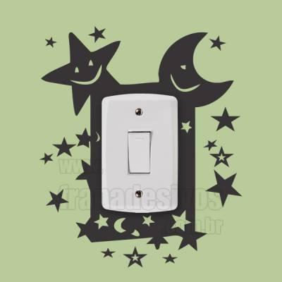 Adesivo de parede - Interruptor - Noite Estrelada