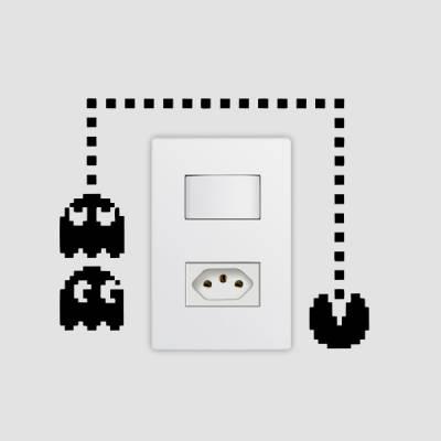 Adesivo de parede - Interruptor - Pac Man
