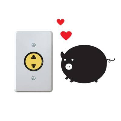 Adesivo para interruptor porquinho apaixonado pela tomada