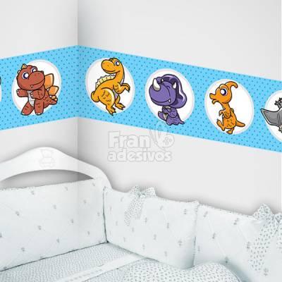 Faixa Decorativa para quarto infantil Dinossauro - Azul