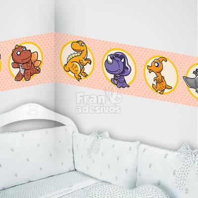 Faixa Decorativa para quarto infantil Dinossauros - salmão
