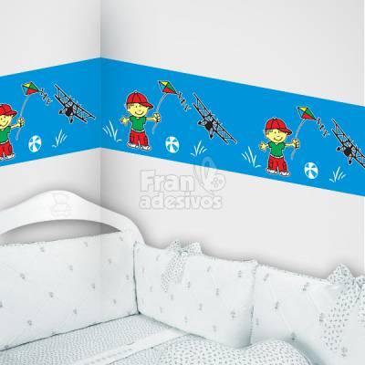 Faixa decorativa menino soltando pipa - Azul Claro