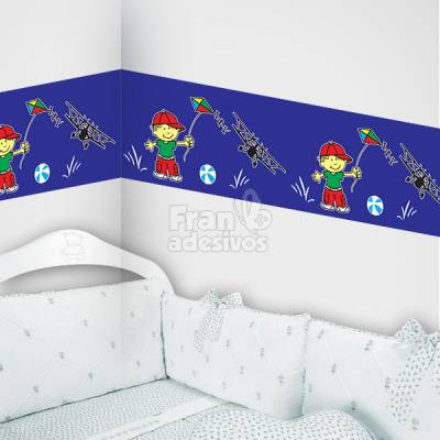 Faixa decorativa Menino soltando pipa - Azul Escuro