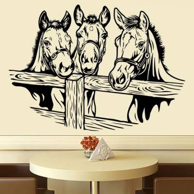 Adesivo de Parede Animais 3 Cavalos Atrás da Cerca