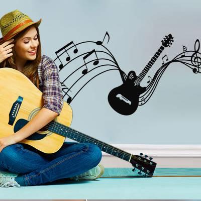 Adesivo De Parede Guitarra Com Partituras