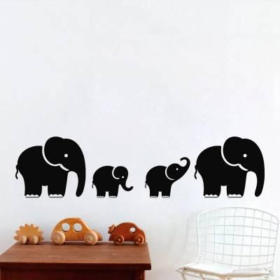 Adesivo De Parede Elefantes Com Filhotes
