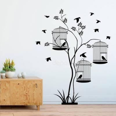 Adesivo De Parede Gaiolas Com Pássaros Livres
