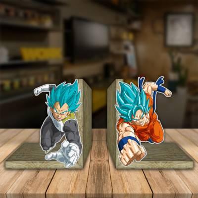 Aparador de Livro Decorativo Goku e Vegeta Deus Super Sayajin 2