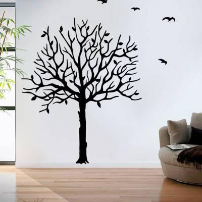 Adesivo de Parede Arvore De Outono Com Pássaros