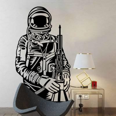Adesivo de Parede Astronauta E Foguete