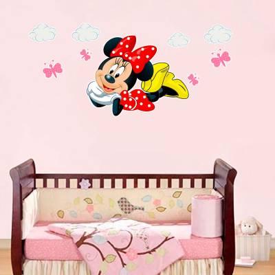 Adesivo de Parede Infantil Minnie com Nuvens