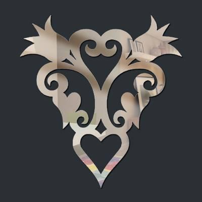 Espelho Decorativo Brasão Flores E Corações