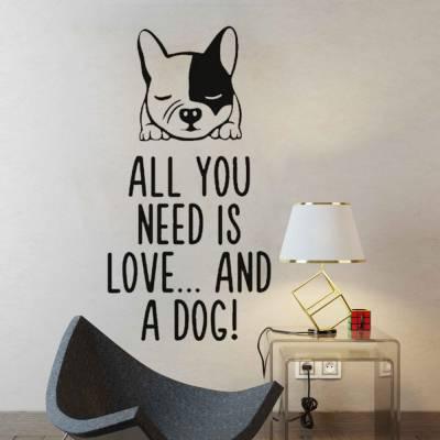Adesivo de Parede Frase Com Cachorro