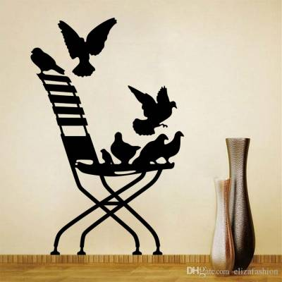 Adesivo de Parede Cadeira Com Pássaros