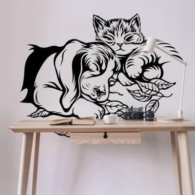 Adesivo de Parede Cão E Gato