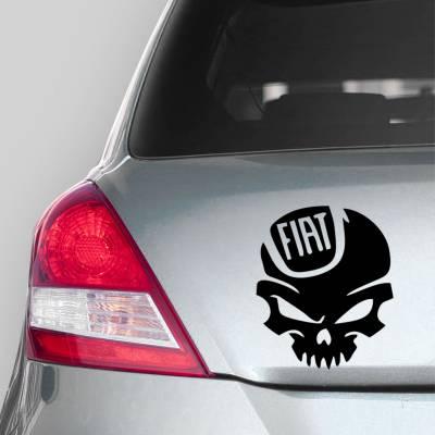 Adesivo de Carro Caveira com a Logo Da Fiat