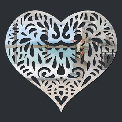 Espelho Decorativo Coração Abstrato Com Mosaico