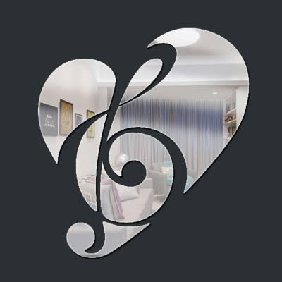 Espelho Decorativo Partitura E Coração