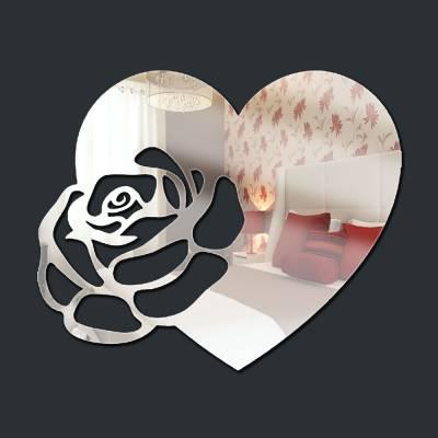 Espelho Decorativo Rosa E Coração