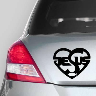 Adesivo de Carro Coração Escrito Jesus
