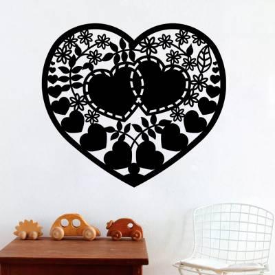 Adesivo de Parede Coração Florido