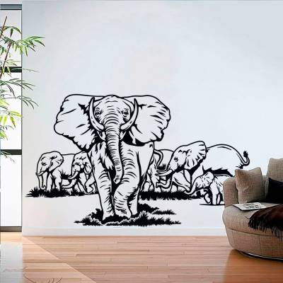 Adesivo de Parede Elefantes Manada
