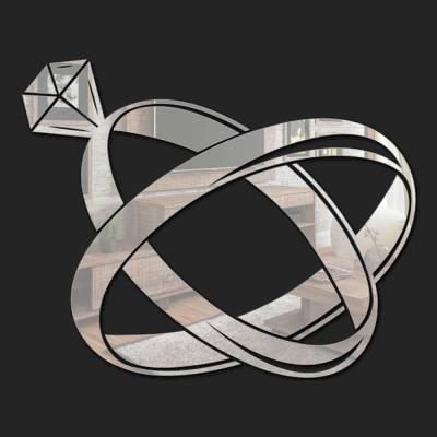 Espelho Decorativo Alianças Com Diamante
