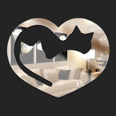 Espelho Decorativo Coração Com Gatos