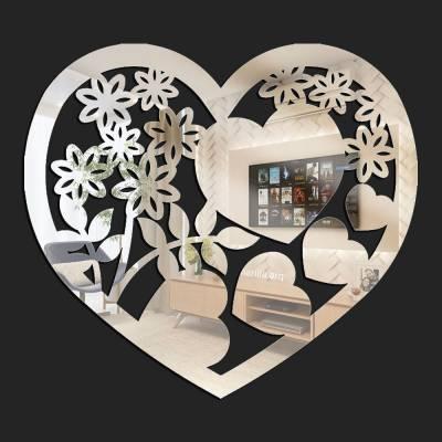 Espelho Decorativo Coração Flores E Corações