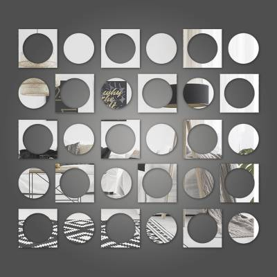 Espelho Decorativo Círculos E Quadrados Abstratos