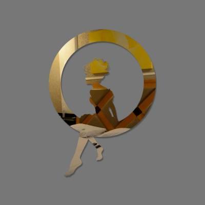 Espelho Decorativo Garota Dentro De um Circulo