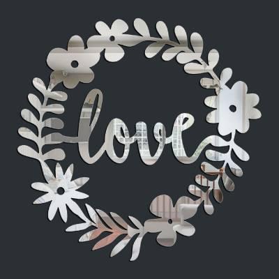 Espelho Decorativo Love Coroa De Flores