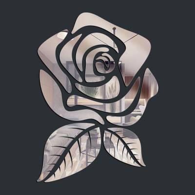 Espelho Decorativo Rosa Com folhas