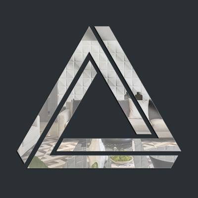 Espelho Decorativo Triângulo Sob Triângulo